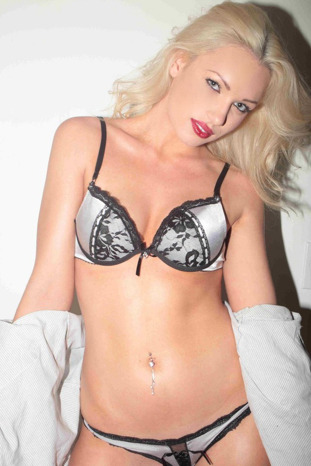 Hot blonde Ashley in new lingerie