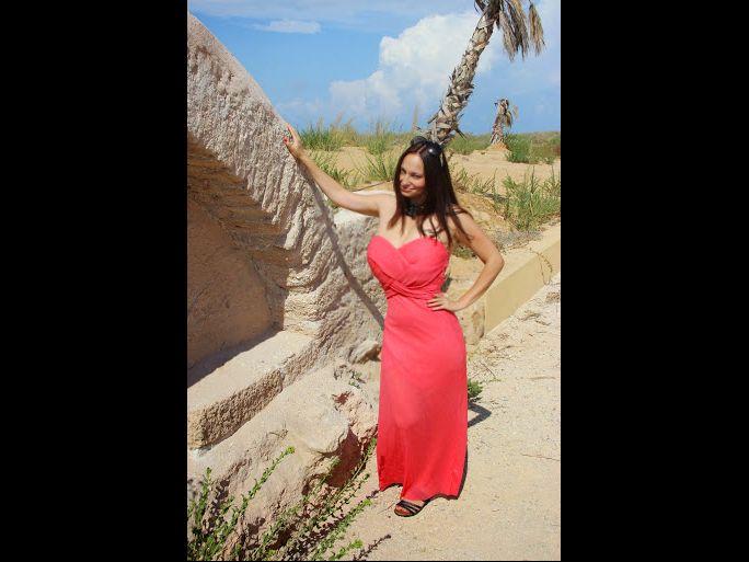 Hot busty MILF in red dress