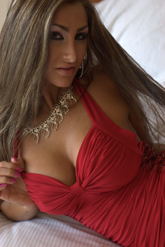 Hot busty cam girl Blake in red dress