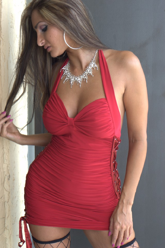 busty camgirl Blake in short red dress