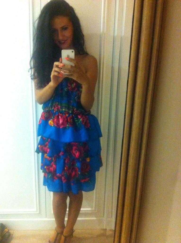 Hot brunette camgirl Danielle in new dress