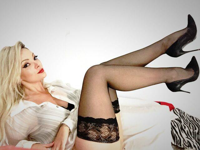Blonde black stockings and high heels