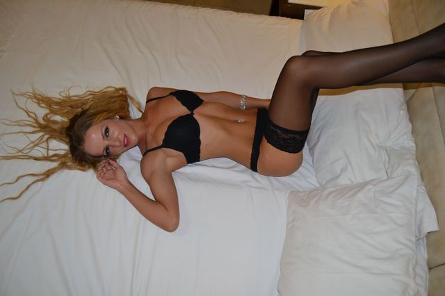 Hot blonde college girl Nadine in black lingerie & stockings