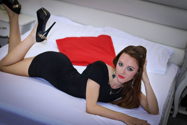 Hot college girl Elina in short black dress