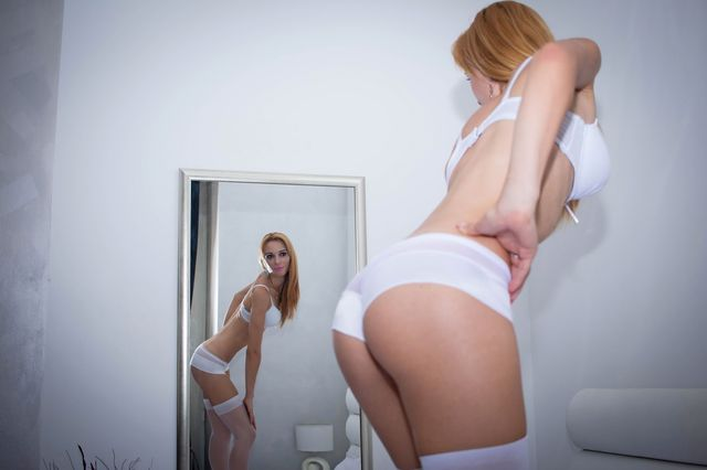 Hot, slutty college girl in white lingerie