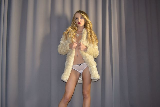 Candid college girl - white fur and panties