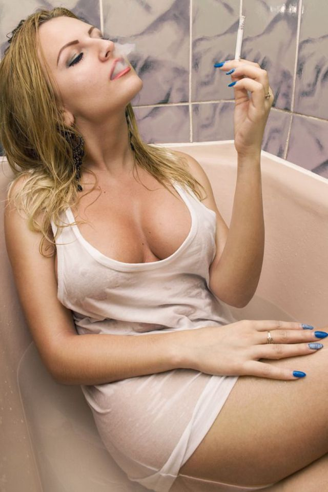 Busty slut smoking fetish
