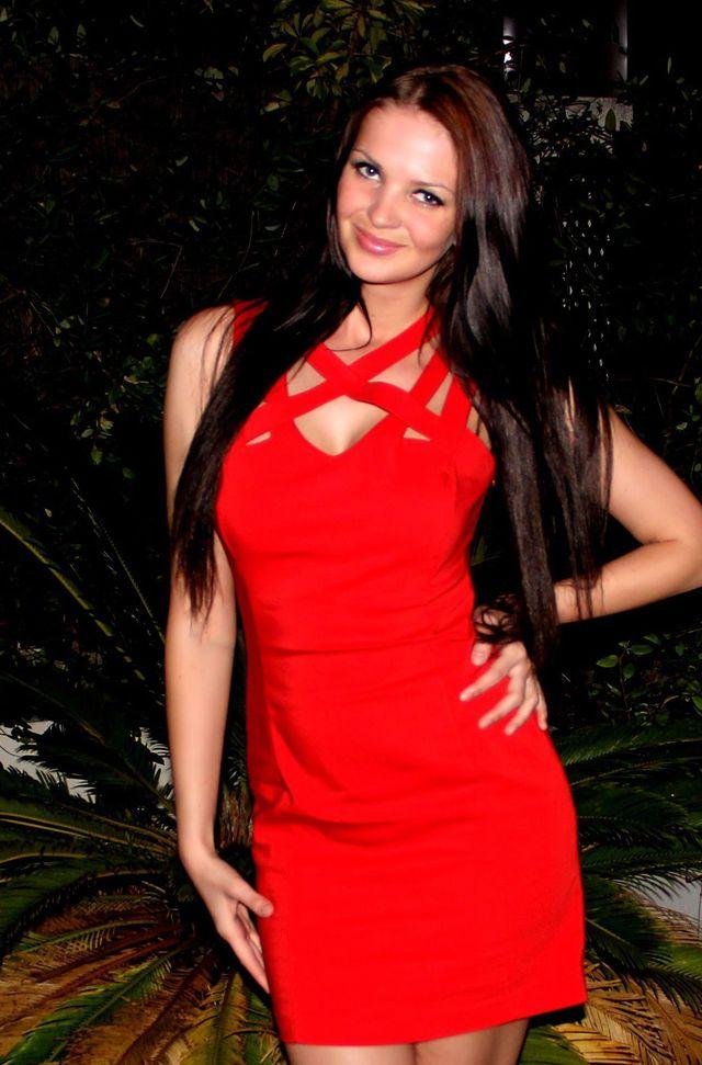 Hot girl Kate in red dress