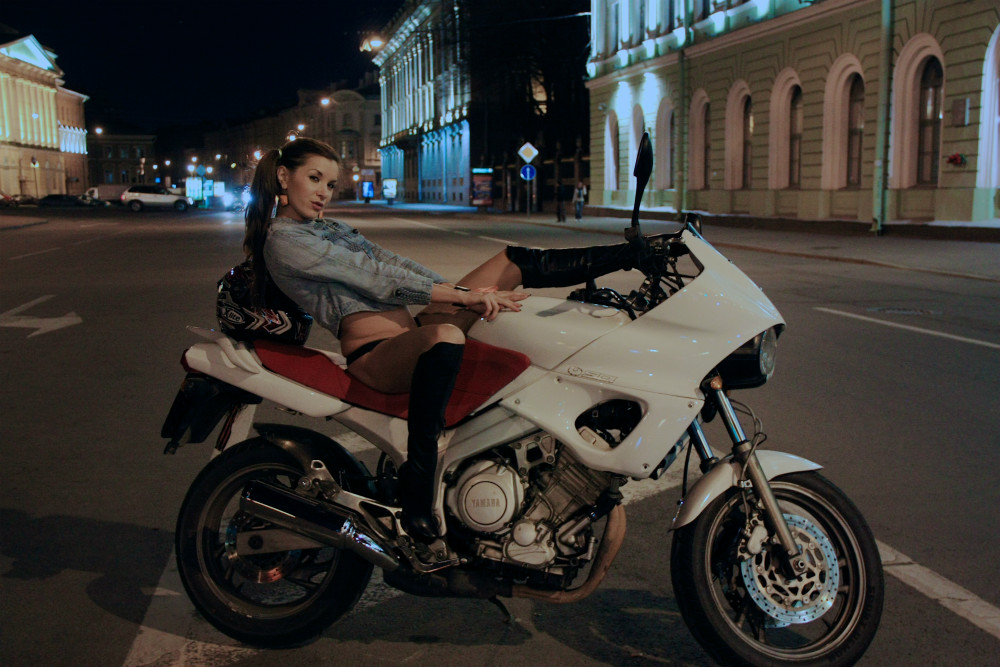 College girl Helen on motorbike
