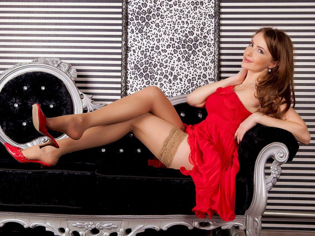 Hottest cam girl Audrey in red dress and tan stockings