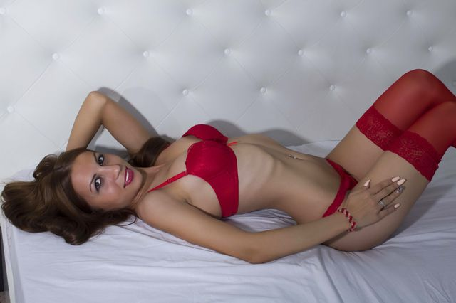 Hot, naughty coed girl Karolina in red lingerie and stockings