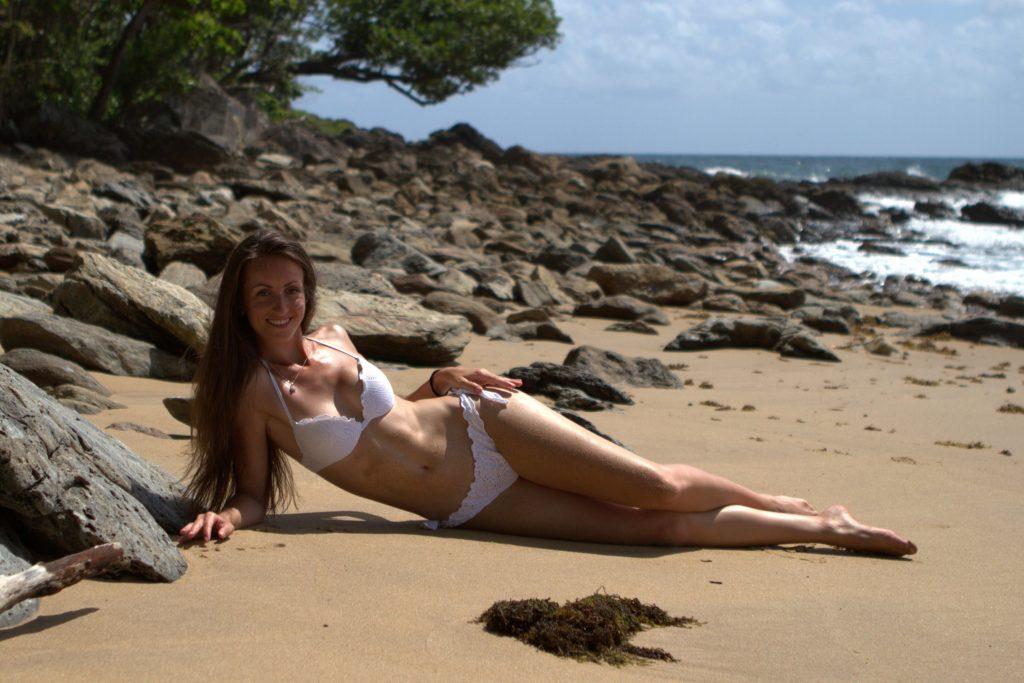 Sweet cam girl Julia in new white bikini
