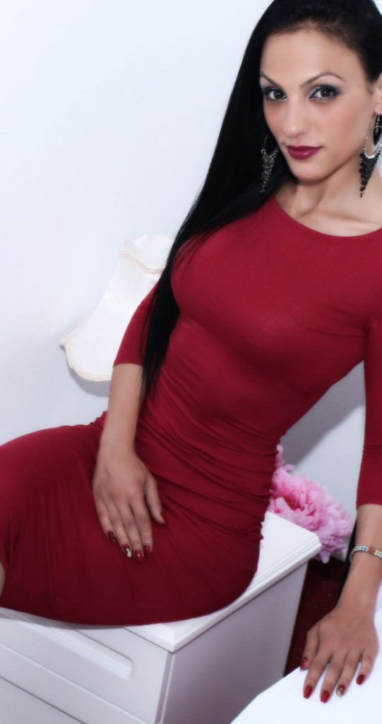 Hot cam girl Lorette in red dress